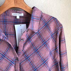 Stevie Hender Tops - Stevie Hender plaid peplum button down shirt